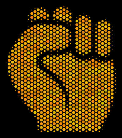 Halftone hexagonal Fist icon. Bright gold pictogram with honeycomb geometric structure on a black background. Vector concept of fist icon constructed of hexagon dots. Illustration