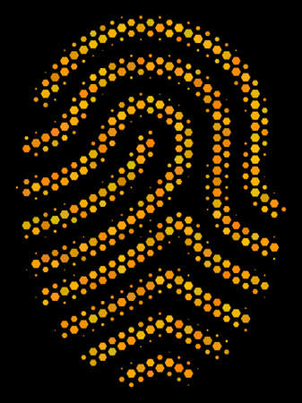 Halftone hexagonal Fingerprint icon. Bright yellow pictogram with honeycomb geometric pattern on a black background. Vector mosaic of fingerprint icon created of hexagon blots.