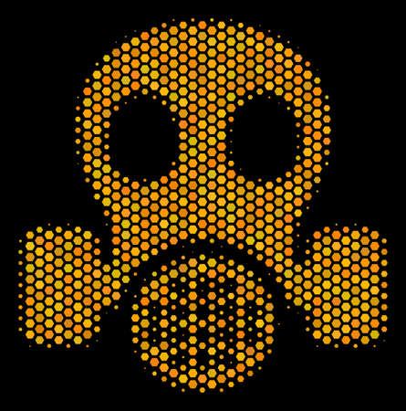 Halftone hexagonal Gas Mask icon. Bright gold pictogram with honeycomb geometric pattern on a black background. Vector concept of gas mask icon composed of hexagonal items. Illustration