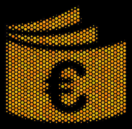 Halftone hexagon Euro Checkbook icon. Bright gold pictogram with honeycomb geometric structure on a black background. Vector concept of euro checkbook icon done of honeycomb elements.
