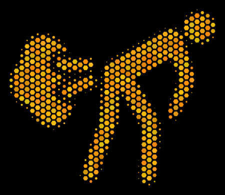 Halftone hexagon Fart Gases icon. Bright yellow pictogram with honey comb geometric structure on a black background. Vector collage of fart gases icon done of hexagon elements.