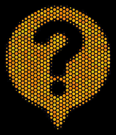 Halftone hexagon Help Balloon icon. Bright gold pictogram with honey comb geometric pattern on a black background. Vector concept of help balloon icon designed of hexagonal cells.