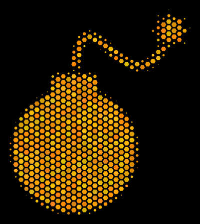 Halftone hexagon Bomb icon. Bright yellow pictogram with honeycomb geometric pattern on a black background. Vector collage of bomb icon done of hexagonal blots.