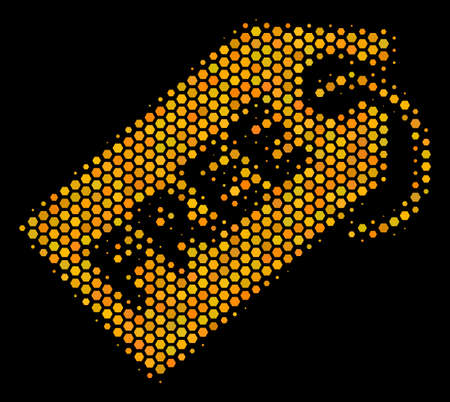 Halftone hexagon Free Tag icon. Bright yellow pictogram with honeycomb geometric structure on a black background. Vector pattern of free tag icon combined of hexagon pixels. Illustration