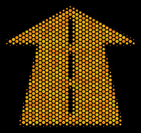 Halftone hexagonal Future Road icon. Bright gold pictogram with honeycomb geometric pattern on a black background. Vector pattern of future road icon constructed of honeycomb blots.