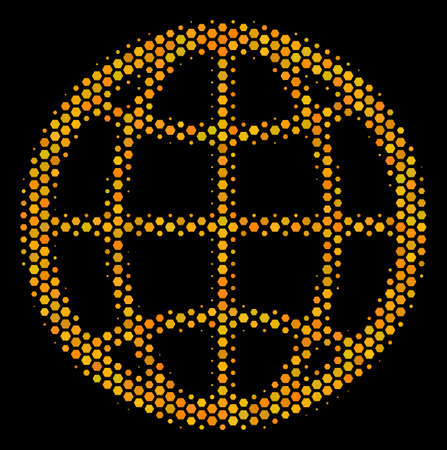 Halftone hexagon Globe icon. Bright yellow pictogram with honeycomb geometric pattern on a black background. Vector composition of globe icon done of honeycomb items.