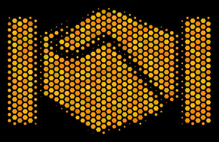 Halftone hexagon Handshake icon. Bright gold pictogram with honey comb geometric pattern on a black background. Vector concept of handshake icon designed of honeycomb cells.