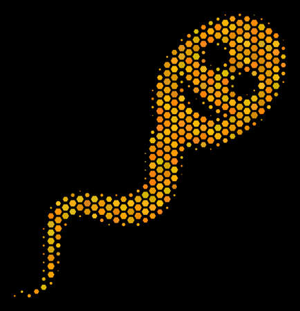 Halftone hexagonal Happy Spermatozoon icon. Bright gold pictogram with honeycomb geometric pattern on a black background. Vector composition of happy spermatozoon icon combined of hexagon spots.