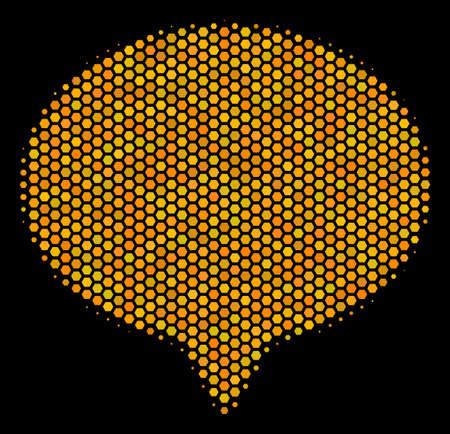 Halftone hexagon Hint icon. Bright gold pictogram with honey comb geometric structure on a black background. Vector collage of hint icon organized of hexagonal pixels.