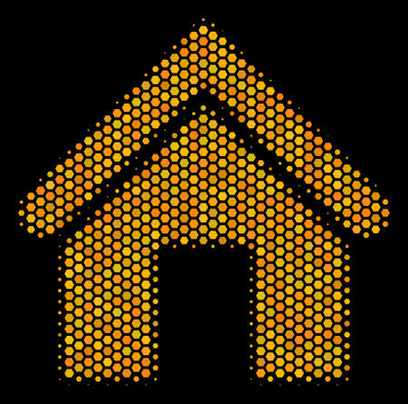 Halftone hexagon Home icon. Bright yellow pictogram with honey comb geometric pattern on a black background. Vector concept of home icon designed of hexagon spots.
