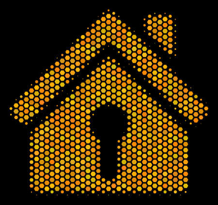 Halftone hexagon Home Keyhole icon. Bright golden pictogram with honey comb geometric pattern on a black background. Vector composition of home keyhole icon constructed of hexagon items. Illustration