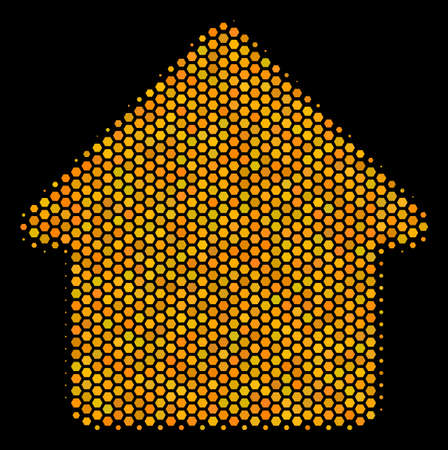 Halftone hexagonal House icon. Bright gold pictogram with honey comb geometric pattern on a black background. Vector mosaic of house icon made of hexagon pixels. Illustration