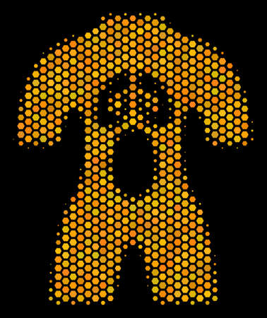Halftone hexagon Human Anatomy icon. Bright yellow pictogram with honey comb geometric structure on a black background. Vector concept of human anatomy icon created of honeycomb pixels. 向量圖像