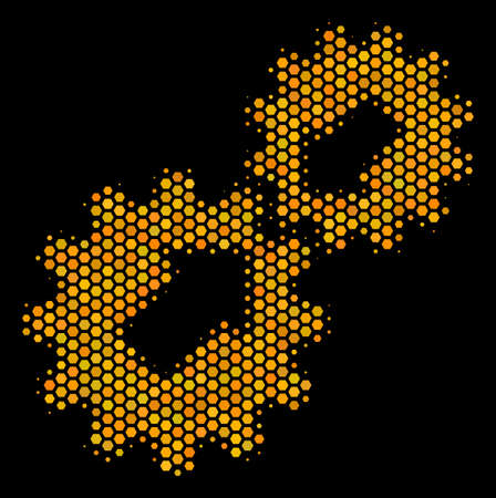 Halftone hexagonal Integration icon. Bright gold pictogram with honeycomb geometric pattern on a black background. Vector mosaic of integration icon created of hexagon items.