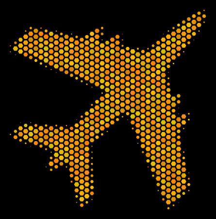 Halftone hexagon Jet Plane icon. Bright gold pictogram with honeycomb geometric pattern on a black background. Vector composition of jet plane icon composed of hexagon pixels.