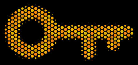 Halftone hexagon Key icon. Bright yellow pictogram with honey comb geometric structure on a black background. Vector composition of key icon organized of hexagon dots. Illustration