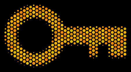 Halftone hexagonal Key icon. Bright golden pictogram with honey comb geometric pattern on a black background. Vector concept of key icon made of hexagon blots.