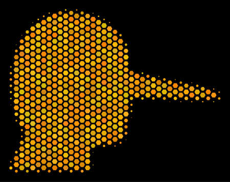 Halftone hexagon Lier icon. Bright gold pictogram with honeycomb geometric structure on a black background. Vector concept of lier icon constructed of hexagonal blots. Ilustração
