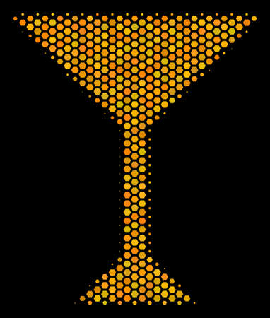 Halftone hexagon Martini Glass icon. Bright golden pictogram with honeycomb geometric structure on a black background. Vector composition of martini glass icon made of hexagonal blots.