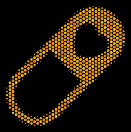 Halftone hexagon Love Granule icon. Bright yellow pictogram with honey comb geometric pattern on a black background. Vector mosaic of love granule icon constructed of honeycomb dots.