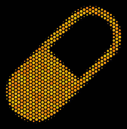 Halftone hexagon Medication Granule icon. Bright yellow pictogram with honeycomb geometric structure on a black background. Illustration