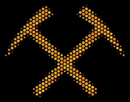Halftone hexagonal Mining Hammers icon. Bright gold pictogram with honeycomb geometric structure on a black background. Vector pattern of mining hammers icon done of hexagonal blots. Illustration