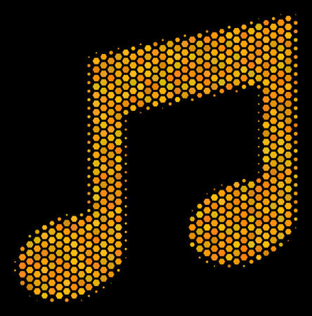 Halftone hexagonal Music Notes icon. Bright gold pictogram with honey comb geometric structure on a black background. Vector concept of music notes icon constructed of honeycomb dots.