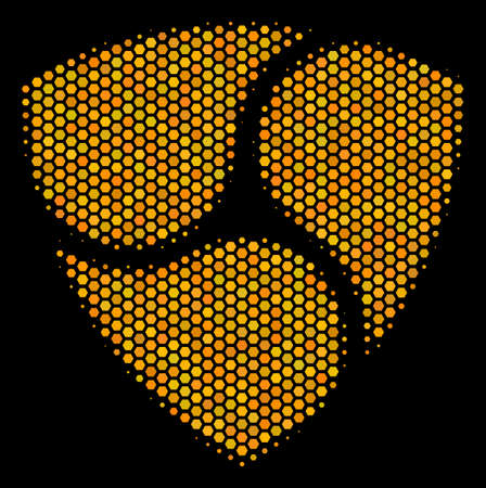Halftone hexagon Nem icon. Bright yellow pictogram with honeycomb geometric pattern on a black background. Vector collage of nem icon combined of honeycomb cells.