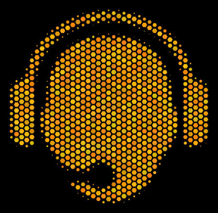 Halftone hexagonal Operator Head icon. Bright yellow pictogram with honeycomb geometric pattern on a black background. Vector concept of operator head icon created of hexagon spots.