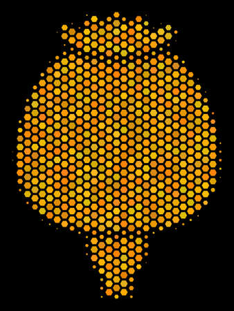 Halftone hexagon Opium Poppy icon. Bright yellow pictogram with honeycomb geometric pattern on a black background. Vector concept of opium poppy icon composed of honeycomb items. Stock Vector - 100564744