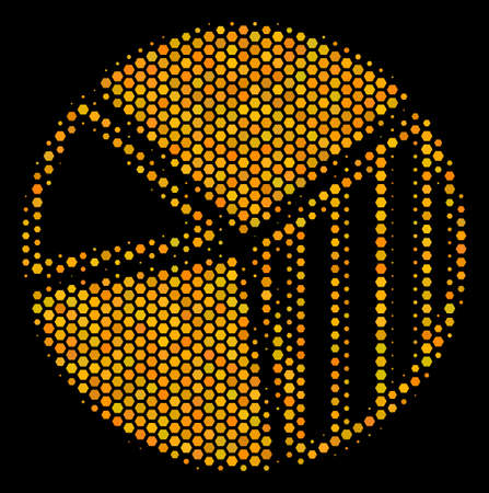Halftone hexagonal Pie Chart icon. Bright yellow pictogram with honeycomb geometric pattern on a black background. Vector concept of pie chart icon organized of hexagon pixels.