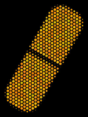 Halftone hexagonal Pill icon. Bright yellow pictogram with honey comb geometric pattern on a black background. Vector mosaic of pill icon done of honeycomb cells.
