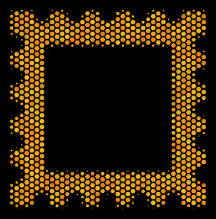 Halftone hexagon Postage Stamp icon. Bright gold pictogram with honeycomb geometric structure on a black background. Vector mosaic of postage stamp icon created of honeycomb dots.