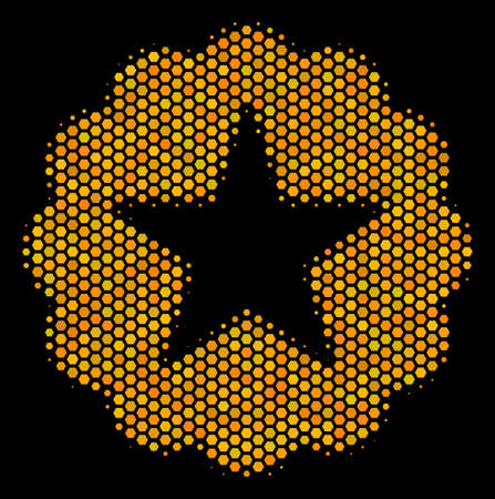 Halftone hexagonal Quality icon. Bright yellow pictogram with honey comb geometric structure on a black background. Vector composition of quality icon organized of hexagonal elements.