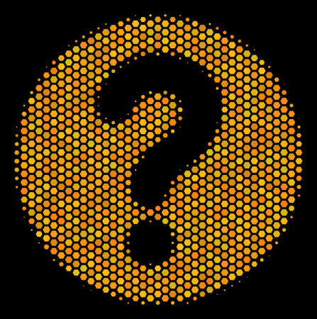 Halftone hexagonal Query icon. Bright yellow pictogram with honeycomb geometric structure on a black background. Vector mosaic of query icon created of hexagonal spots. 向量圖像