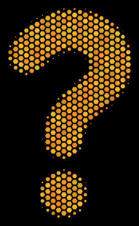 Halftone hexagon Question icon. Bright gold pictogram with honey comb geometric structure on a black background. Vector collage of question icon created of hexagon items.