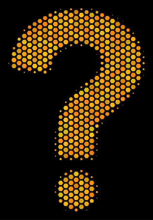 Halftone hexagon Question icon. Bright yellow pictogram with honey comb geometric pattern on a black background. Vector concept of question icon made of hexagon spots. Vettoriali