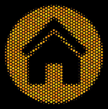 Halftone hexagonal Real Estate icon. Bright yellow pictogram with honeycomb geometric pattern on a black background. Vector pattern of real estate icon combined of hexagonal elements. Ilustrace