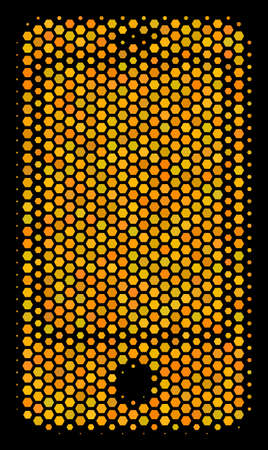 Halftone hexagonal Smartphone icon. Bright gold pictogram with honey comb geometric pattern on a black background. Vector concept of smartphone icon organized of hexagonal spots.