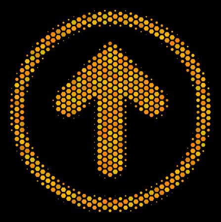 Halftone hexagonal Rounded Arrow icon. Bright yellow pictogram with honey comb geometric structure on a black background. Vector concept of rounded arrow icon organized of honeycomb dots.