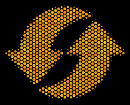 Halftone hexagonal Refresh icon. Bright gold pictogram with honeycomb geometric pattern on a black background. Vector pattern of refresh icon combined of hexagon elements. Illustration