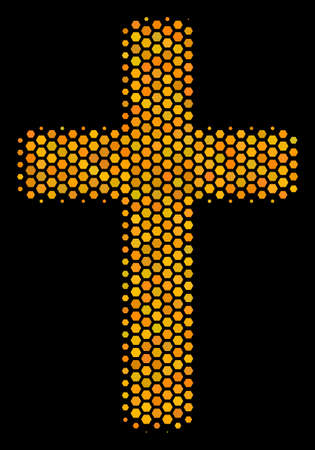 Halftone hexagonal Religious Cross icon. Bright golden pictogram with honey comb geometric pattern on a black background. Vector mosaic of religious cross icon created of hexagonal items. Ilustrace