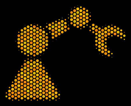 Halftone hexagonal Robotics Manipulator icon. Bright gold pictogram with honey comb geometric pattern on a black background. Vector collage of robotics manipulator icon done of honeycomb dots.