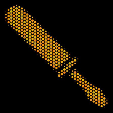 Halftone hexagonal Screwdriver icon. Bright yellow pictogram with honeycomb geometric pattern on a black background. Vector composition of screwdriver icon constructed of hexagon elements.