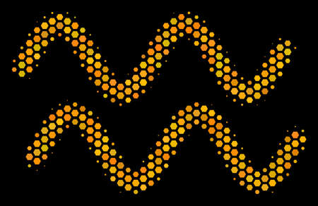 Halftone hexagonal Sinusoid Waves icon. Bright gold pictogram with honey comb geometric structure on a black background. Vector collage of sinusoid waves icon organized of hexagon items.