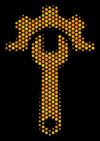 Halftone hexagonal Service Tools icon. Bright golden pictogram with honeycomb geometric pattern on a black background. Vector concept of service tools icon done of hexagon spots.