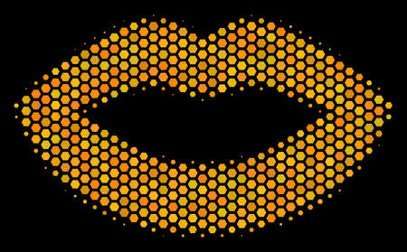 Halftone hexagon Sexy Lips icon. Bright gold pictogram with honeycomb geometric pattern on a black background. Vector pattern of sexy lips icon done of honeycomb blots.