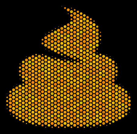 Halftone hexagon Shit icon. Bright gold pictogram with honey comb geometric structure on a black background. Vector mosaic of shit icon constructed of hexagon elements.