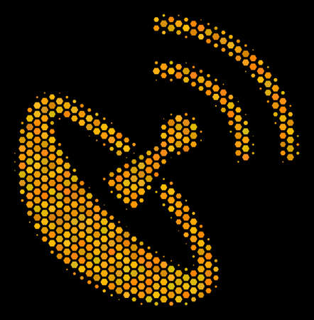Halftone hexagon Space Antenna icon. Bright gold pictogram with honeycomb geometric pattern on a black background. Vector composition of space antenna icon composed of hexagonal pixels.