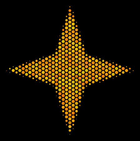 Halftone hexagonal Space Star icon. Bright golden pictogram with honeycomb geometric pattern on a black background. Vector concept of space star icon done of hexagon blots.